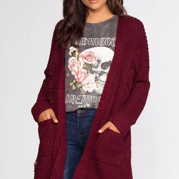 Zepplin Distressed Cardigan - Burgundy