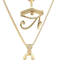 Goldtone Eye of Horus and Ankh Micro Pendant Layered Chain 24-30Inch