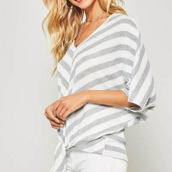 Dolman Sleeved Striped Top - Gray