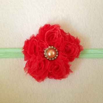 40% profit to charity: Coral Chiffon floral rhinestone pearl on teal/mint green headband head wrap photo prop for baby