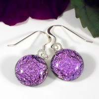 Sparkling Pink Dichroic Glass Dangle Earrings, Black Base