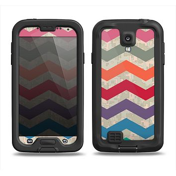 The Retro Chevron Pattern with Digital Camo Samsung Galaxy S4 LifeProof Nuud Case Skin Set