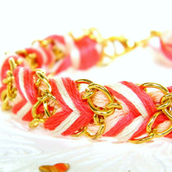 Neon Coral, Peachy Keen, & Neutral - Adjustable Chevron Braided Modern Friendship Bracelet - Gold Chain