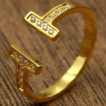 Tiffany rose gold ring titanium jewelry accessories do not fade T-shaped diamond openings are code ring-1