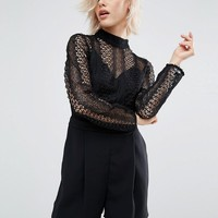 River Island Lace High Neck Playsuit at asos.com