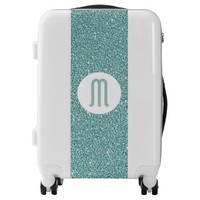 Classy Sage Green Sparkly Glitter Look Monogram Luggage