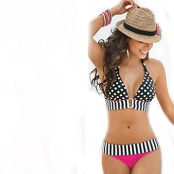 NEW Sexy Summer Bikini Swimsuit Stripe Dotted Beachwear for Women Vintage Push Up Padded Swimwear Bikini *35