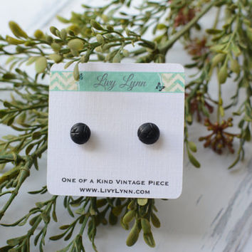 Victorian French Jet Mourning Bead Stud Earrings - Over 150 years old