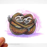 Cute Sloth Card, Sending Hugs, I Love You, Encouragement Card, Sympathy Card, Personalized Card, Blank Greeting, Get Well, Anniversary Card