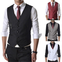 Slim Fit Men Fashion Vest with Zip Detail