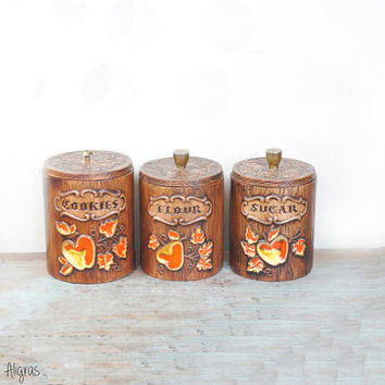 SALE Vintage Canister Set // Treasure Craft CANISTER Set // Apple and Pear // Foliage Design, Handmade Cookie, Sugar, Flour Retro