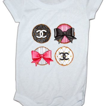 Chanel Bows Inspired baby onesie
