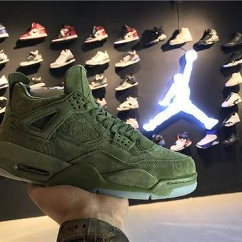 Nike KAWS x Air Jordan Retro 4 IV Green AJ4 Discount Men Sports Basketball Shoes Sale