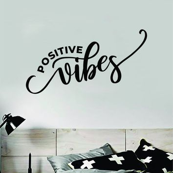 Positive Vibes Wall Decal Sticker Vinyl Art Bedroom Room Home Decor Inspirational Motivational School Teen Baby Nursery Kids Happy Smile