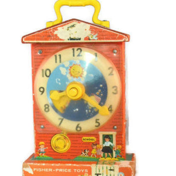 Vintage 1968 Fisher Price Music Box Teaching Clock, Wind Up Wooden Music Box Toy Clock, Vintage Learning Toy