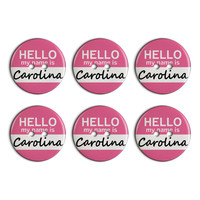 Carolina Hello My Name Is Plastic Resin Button Set of 6