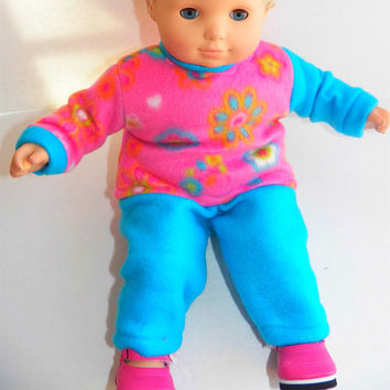 """Bitty Baby Twins Clothes American Girl 15"""" Doll Clothes Bright Pink Floral Sweatshirt & Turquoie Polar Fleece Pants"""