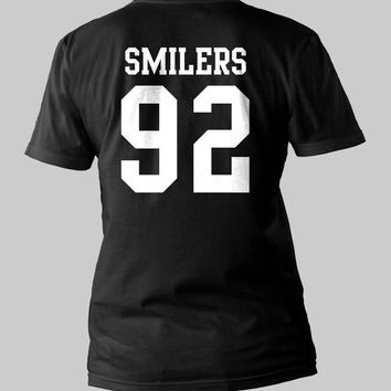 Miley's smile Smilers 92 date of birth Bangerz Miley Cyrus Printed Back Black and White Shirt Men or Women Shirt Unisex Size