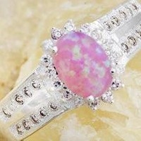 QUEEN NOBLE OVAL PURPLE FIRE OPAL .925 STERLING SILVER RING S.6.5 - Genuine Gemstone