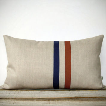 Rust and Navy Striped Pillow - 12x20 - Modern Fall Home Decor by JillianReneDecor - Colorful Colorblock Stripes