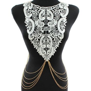 "26"" gold white lace choker collar bib necklace paisley body chain"