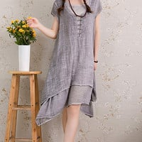 Grey Vintage Double Layered Short Sleeve Midi Dress