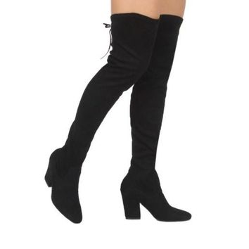 Thigh High Over The Knee Heel Boots In Black