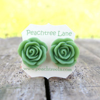 Large Apple Green Rose Flower Stud Earrings Perfect For Bridesmaid Or Maid Of Honor Gifts | Luulla