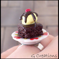 Ice Cream Brownies Plate Ring - Handmade - Kawaii - Polymer Clay - Chocolate Cherry Dessert Mini - Cute - Miniature Ring - Cake