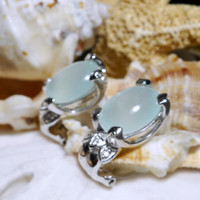 14k Chalcedony and Diamond Omega Back Earrings 7.67g
