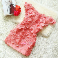 Sweetheart 3D flower mini dress from Your Closet