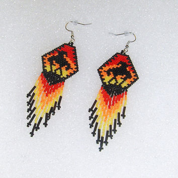 End Of The Trail Beaded Fringe Dangle Earrings//Southwestern Jewelry//Gift Ideas//Tribal Jewelry//Fringe Earrings//Dangle Earrings//Beaded