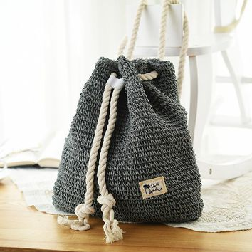 4 Colors Women bag Backpack Designer Solid Woven Drawstring Laides Bags Summer Beach Backpacks Women Mochilas Vintage straw bag