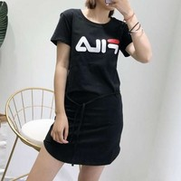 """Fila"" Women Classic Casual Letter Print Drawstring Short Sleeve T-shirt Mini Dress"
