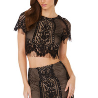 The Dreamer Lace Black Crop Top