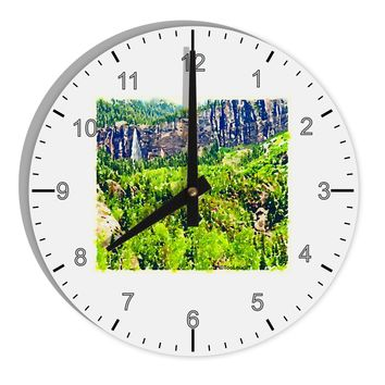 "Colorado Cliffs Watercolor 8"" Round Wall Clock with Numbers by TooLoud"