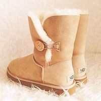 UGG Woman Fur Leather Shoes Boots Winter Half Boots Shoes