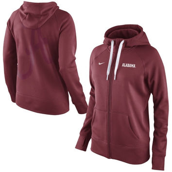 Alabama Crimson Tide Nike Women's Warp All Time Full Zip Performance Hoodie - Crimson