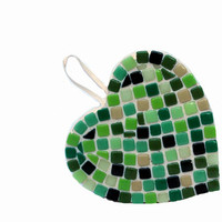 Green Mosaic Heart Ornament