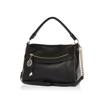 River Island Womens Black fold over slouch bag