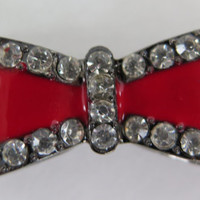 1PC - Bow Connector - Red Enamel on Gunmetal with Rhinestones - 35x15mm