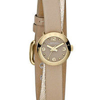 Marc by Marc Jacobs Watch, Women's Amy Dinky Metallic Gold and Light Nut Leather Double Wrap Strap 20mm MBM1256 - All Watches - Jewelry & Watches - Macy's