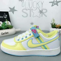 NIKE Air Force new fashion sports women shoe White yellow