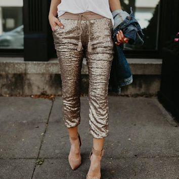 Mid waist sequined ankle-length pants Women drawstring elastic waist sequins pants fashion spring trousers pantalon mujer