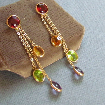Semi Precious Gemstone Earrings 14 kt Gold Dangles