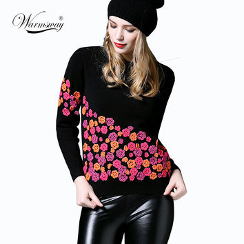 Luxury Brand Designer Runway Sweater 2016 Autumn Winter Fashion 3D Flowers Embroidery Silk Pullovers and Sweaters Tops WS-085