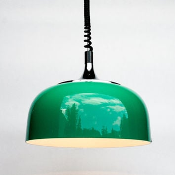 Vintage Space Age Ceiling Lamp / Adjustable Pendant Lamp / 70's Retro Home Decor / Meblo Guzzini / Green
