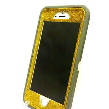 iPhone 6 (4.7 inch) OtterBox Defender Series Case Glitter Cute Sparkly Bling Defender Series Custom Case  Deep gray / yellow gold