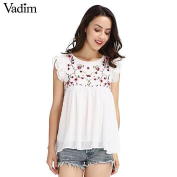 Vadim sweet floral embroidery pleated ruffled shirt cute sleeveless vintage doll blouse