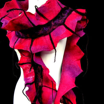 Felted Scarf Ruffle Skinny Extra Long Wavy Deep Red Burgundy Bordeaux Purple Black
